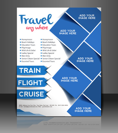 Ilustración de Travel Center Flyer & Poster Template Design - Imagen libre de derechos