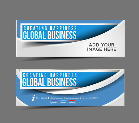 Ilustración de Global Business Web Banner, Header Layout Template. - Imagen libre de derechos