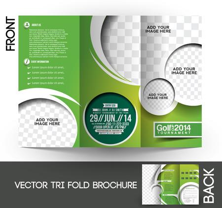 Illustration for Tri-Fold Golf Tournament Mock up & Brochure Design - Royalty Free Image