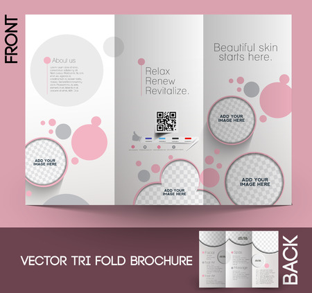 Ilustración de Beauty Care & Salon Tri-Fold Mock up & Brochure Design  - Imagen libre de derechos