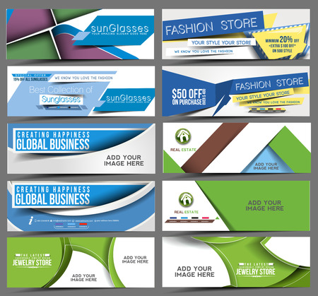 Illustration pour Set of Web Banner Header Design Element.  - image libre de droit