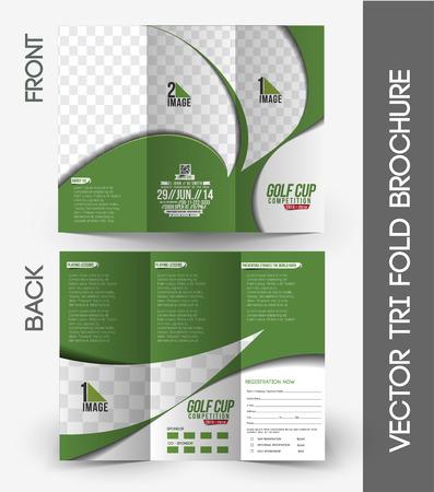 Illustration for Golf Tournament Mock up & Tri-Fold Brochure Design - Royalty Free Image
