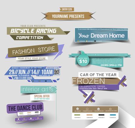 Illustration pour Collection of Sale Discount Styled Website Banner - image libre de droit