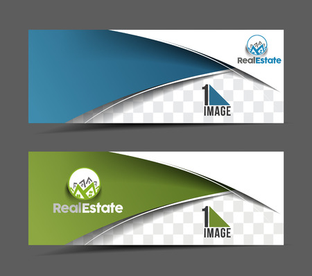 Ilustración de Real estate Business Ad, Web Banner & Header Layout Template - Imagen libre de derechos