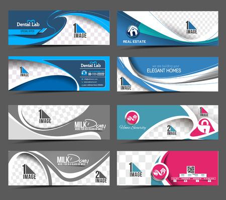 Illustration pour Set Of Modern Abstract Business Banner Template - image libre de droit