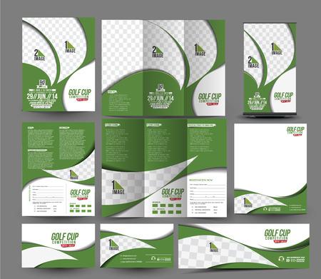 Illustration pour Golf Club Business Stationery Set Template. - image libre de droit