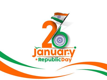 Illustration pour Indian Republic day concept with text 26 January. - image libre de droit