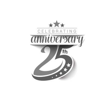 Illustration for 25th Years Anniversary Celebration Design. - Royalty Free Image