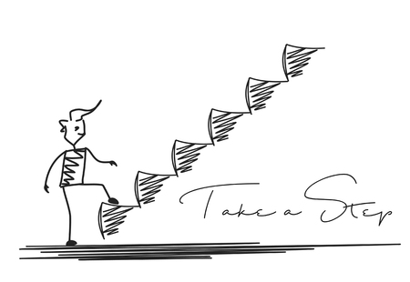 Illustration pour Man Taking Next Step or Achievement, Cartoon Hand Drawn Vector Background. - image libre de droit