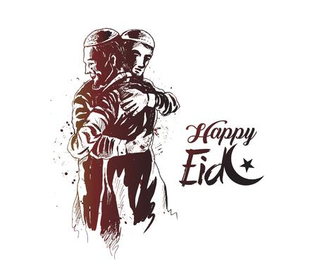 Illustration for Eid Mubarak celebration template design - Royalty Free Image