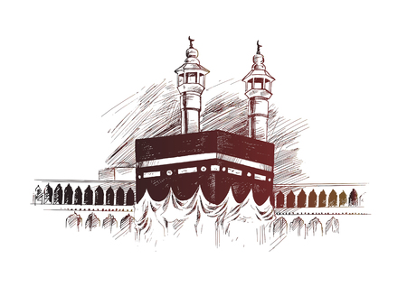 Illustration for Holy Kaaba in Mecca Saudi Arabia, Hand Drawn Sketch Vector illustration. - Royalty Free Image