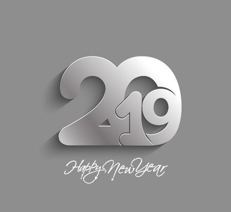 Illustration pour Happy New Year 2019 Text Design  Patter, Vector illustration. - image libre de droit