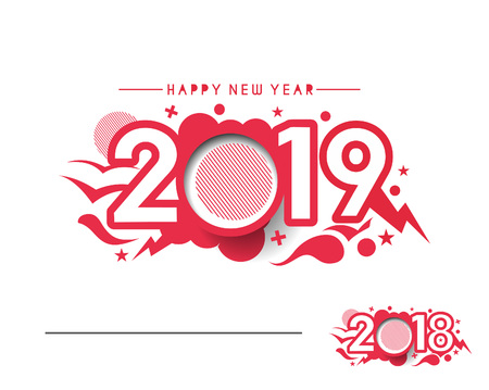 Illustration for Happy New Year 2019 Text Design  Patter, Vector illustration. - Royalty Free Image