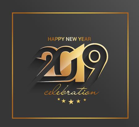 Ilustración de Happy New Year 2019 Golden Text Design  Pattern - Imagen libre de derechos