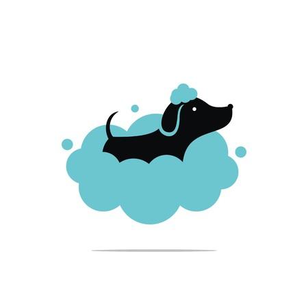 Illustrazione per Dog wash logo design - Immagini Royalty Free