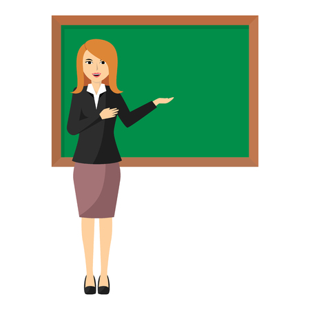 Illustration pour Vector illustration of Cartoon female teacher standing next to a blackboard - image libre de droit