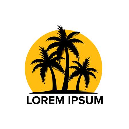 Ilustración de Beach tourism logo with coconut trees - Imagen libre de derechos