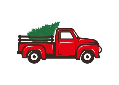 Illustrazione per Red truck with christmas tree vector illustration isolated on white background - Immagini Royalty Free