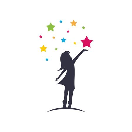 Illustration pour Little girl reach stars sillhouette logo template vector isolated on white background - image libre de droit