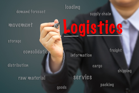 Photo for Businesswoman write Logistics relation concept. - Royalty Free Image