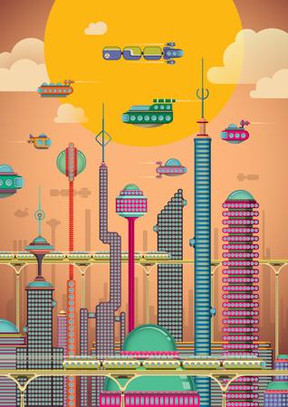 Illustration pour Illustration of futuristic city. - image libre de droit