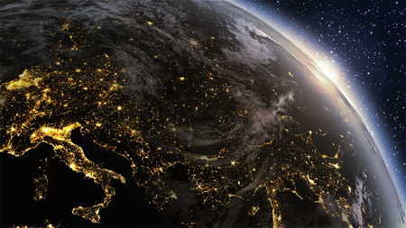 Photo pour Planet earth Europe zone with night time and sunrise. Highly detailed.  - image libre de droit