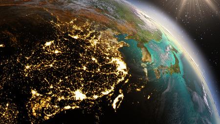 Foto de Planet Earth night and sunrise. - Imagen libre de derechos