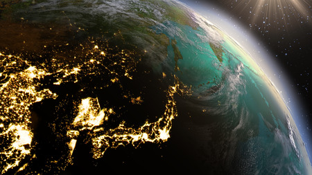 Foto de Planet Earth East Asia zone. Elements of this image furnished by NASA - Imagen libre de derechos