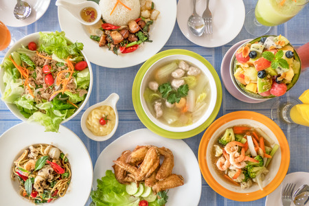 Photo for Top view full of homemade food on table - Royalty Free Image