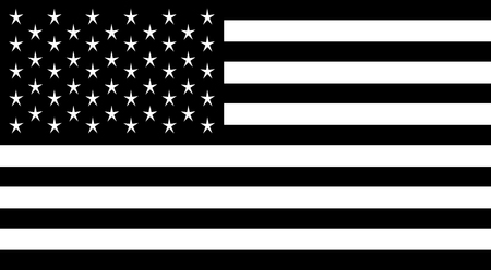 Ilustración de American flag black and white vector illustration. - Imagen libre de derechos