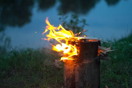 Photo for Close up of a burning bonfire in the forest, firewood and embers on fire by the river, selective focus - Royalty Free Image