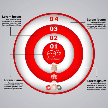 Illustration pour Circular diagram with icons for business concepts - image libre de droit