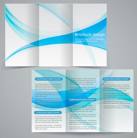 Ilustración de Tri-fold business brochure template, vector blue design flyer - Imagen libre de derechos