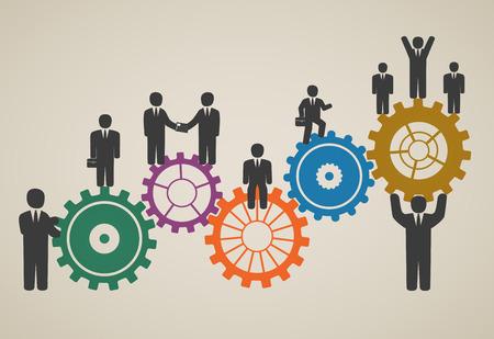 Illustration pour workforce, team working, business people in motion, motivation for success  - image libre de droit