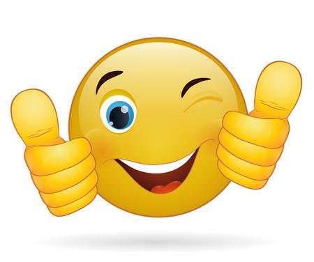 Illustrazione per Thumb up emoticon, yellow  cartoon sign facial expression - Immagini Royalty Free