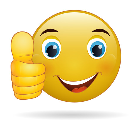 Thumb up emoticon, yellow  cartoon sign facial expression