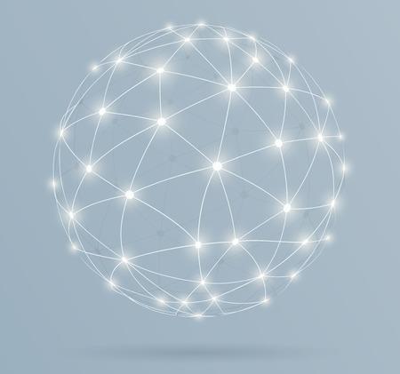 Ilustración de Network, global digital connections with glowing lines - Imagen libre de derechos