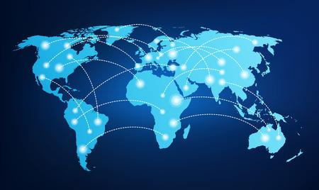 Illustration pour World map with global connections - image libre de droit