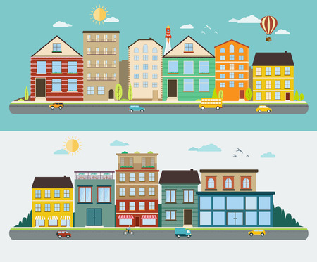 Illustration pour Town streets in a flat design, set of urban streetscapes - image libre de droit
