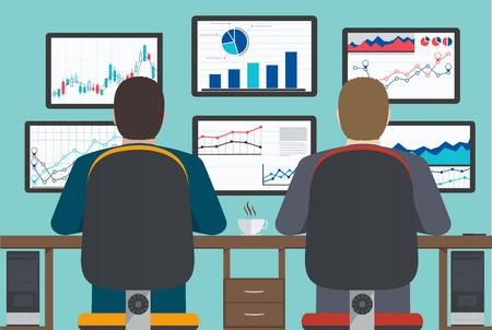Ilustración de Workstation, web analytics, information and development, business statistic. - Imagen libre de derechos