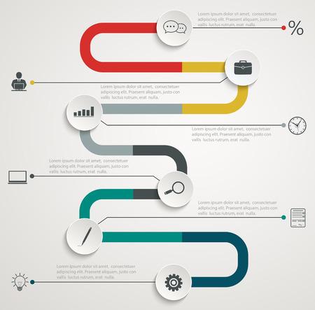 Illustration pour Road infographic timeline with icons - image libre de droit
