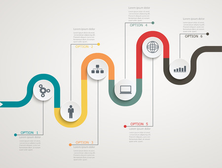 Illustration pour Road infographic timeline with icons, stepwise structure - image libre de droit
