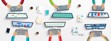 Ilustración de Group of business people working using digital devices on laptops, computers - Imagen libre de derechos