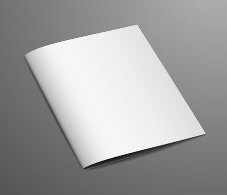 Illustration for Blank White Closed Brochure Magazine, Isolated on Dark Background - Royalty Free Image