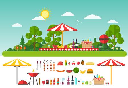 Illustration pour Picnic on nature. Set of elements for outdoor recreation - image libre de droit