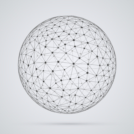 Illustration pour Global  network, sphere. Abstract geometric spherical shape with triangular faces, globe design. - image libre de droit