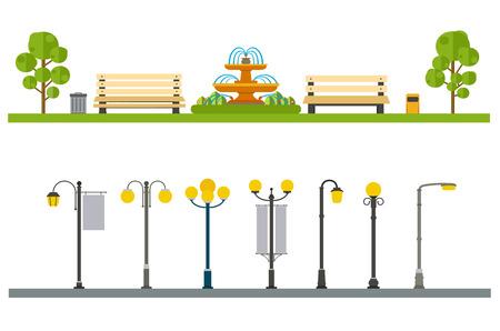 Illustration pour Urban outdoor decor, elements parks and alleys, streets and sidewalks - image libre de droit
