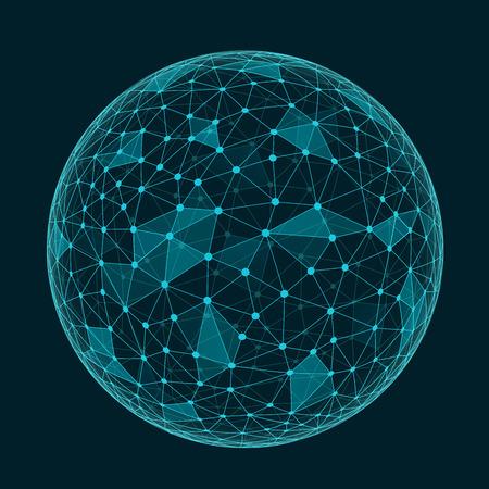 Illustration pour Abstract geometric polygonal shape with triangular faces,  connection structure sphere - image libre de droit