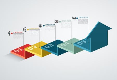 Ilustración de Infographic design template with step structure up arrow, Business concept with 5 options pieces - Imagen libre de derechos