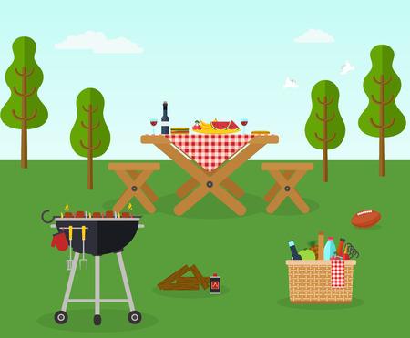 Illustration pour Picnic bbq party outdoor recreation - image libre de droit